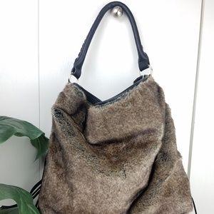 Handbags - Black faux fur and Fringe purse